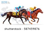 four racing horses competing... | Shutterstock .eps vector #587459876