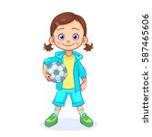 cartoon girl football player... | Shutterstock .eps vector #587465606