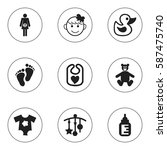 set of 9 editable child icons....