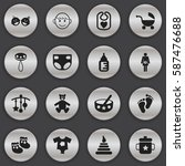 set of 16 editable kid icons.... | Shutterstock .eps vector #587476688