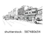sketch of cityscape show street ... | Shutterstock . vector #587480654