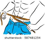 fitness man losing weight... | Shutterstock .eps vector #587481254