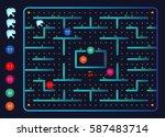 modern dental monster and germs ... | Shutterstock .eps vector #587483714