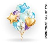 heart star gold balloon bouquet.... | Shutterstock .eps vector #587484590