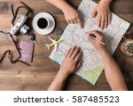 young couple planning  vacation ... | Shutterstock . vector #587485523