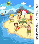 happy family summer holiday on... | Shutterstock .eps vector #587486150