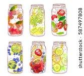 summer lemonade in glass jar.... | Shutterstock .eps vector #587497808