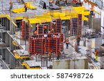 construction site with a bright ... | Shutterstock . vector #587498726