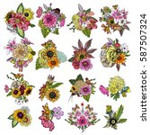 flowers. set of 16 bouquets.... | Shutterstock .eps vector #587507324