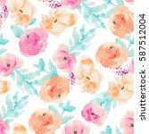 watercolor flowers repeating... | Shutterstock . vector #587512004