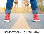 feet red sneaker a girl in... | Shutterstock . vector #587516369