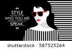 fashion woman with quote.... | Shutterstock .eps vector #587525264