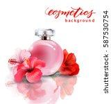 pink bottle women's perfume...   Shutterstock .eps vector #587530754
