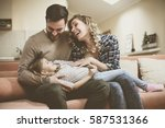 happy family spending time at...   Shutterstock . vector #587531366