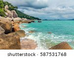 morning at coral cove beach.... | Shutterstock . vector #587531768
