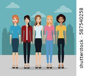 group of fashionable females on ... | Shutterstock .eps vector #587540258