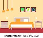 bedroom with cupboard with... | Shutterstock .eps vector #587547860