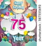 75th birthday celebration... | Shutterstock .eps vector #587555693