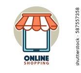 online shopping logo design... | Shutterstock .eps vector #587557358