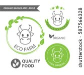 vector set emblems of eco farm... | Shutterstock .eps vector #587566328