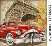 paris vintage poster. | Shutterstock . vector #587580038