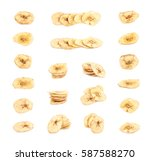 pile of baked and dried banana... | Shutterstock . vector #587588270