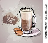 hand drawn illustration of cup... | Shutterstock .eps vector #587588360