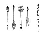 decorative tribal arrows... | Shutterstock .eps vector #587588444