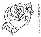 flower rose  black and white.... | Shutterstock .eps vector #587589428