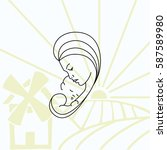 family icon  mother with baby ... | Shutterstock .eps vector #587589980