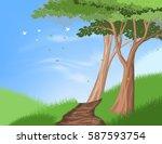 hiking trail on hill scene... | Shutterstock .eps vector #587593754