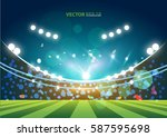 sports stadium with lights ... | Shutterstock .eps vector #587595698