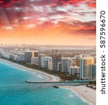 sunset view of miami from... | Shutterstock . vector #587596670