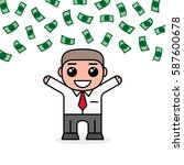 young and cheerful businessman... | Shutterstock .eps vector #587600678