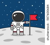 astronaut with flag on the moon.... | Shutterstock .eps vector #587600684