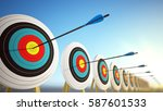 arrows hitting the centers of...   Shutterstock . vector #587601533