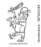 funny zombie plumber coloring... | Shutterstock .eps vector #587602184