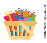 shopping basket with gifts.... | Shutterstock .eps vector #587602340