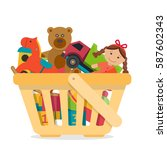 shopping basket with toys. flat ... | Shutterstock .eps vector #587602343