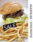 Hamburger And Fries With Sale...