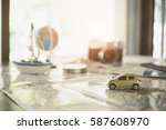 desk of object car for a travel ... | Shutterstock . vector #587608970