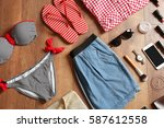 flat lay set of female clothes... | Shutterstock . vector #587612558