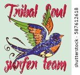 tattoo tribal birds graphic... | Shutterstock .eps vector #587612618