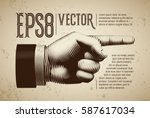vector hand with pointing... | Shutterstock .eps vector #587617034