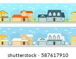 summer and winter town. urban...   Shutterstock . vector #587617910