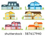 flat icon suburban american... | Shutterstock . vector #587617940