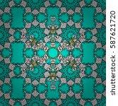 white pattern on blue... | Shutterstock . vector #587621720