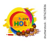 happy holi greeting card with... | Shutterstock .eps vector #587625836