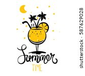 summer party on the beach  ... | Shutterstock .eps vector #587629028