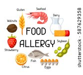 food allergy background with... | Shutterstock .eps vector #587629358